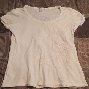 Soft cotton floral appliqué t shirt